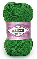 Пряжа летняя Alize Cotton Gold зеленая трава №126