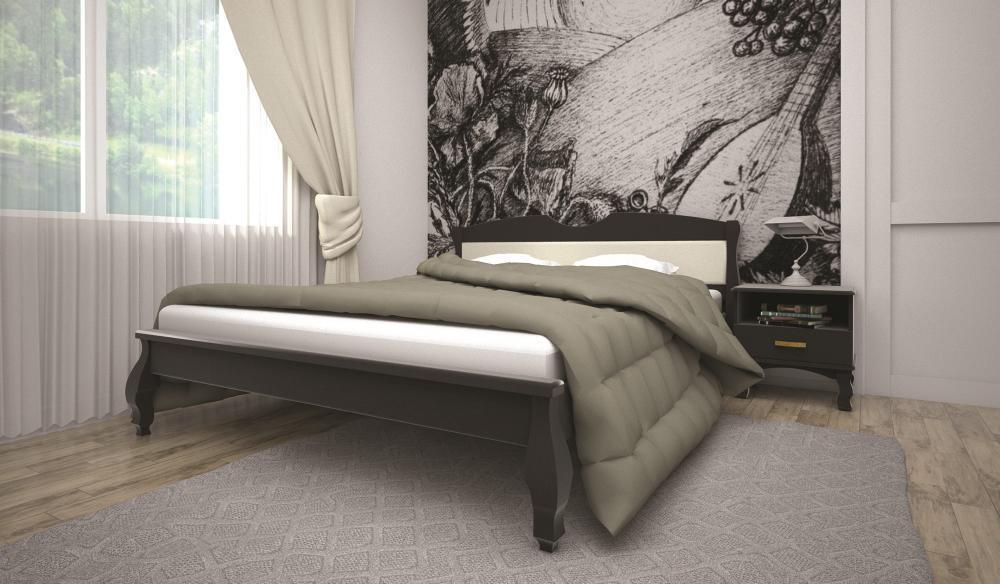 Кровать полуторная с натурального дерева в спальню ТИС КОРОНА 3 120*190 сосна