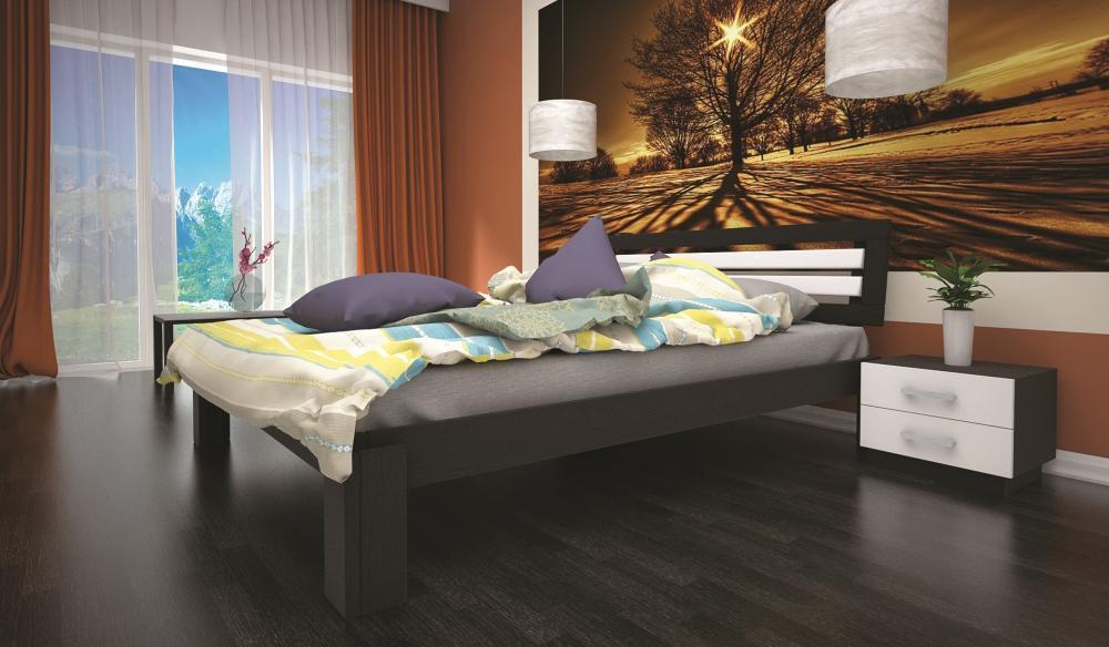 Кровать полуторная с натурального дерева в спальню ТИС МАЛЬВІНА 3 120*190 сосна
