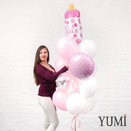 Фонтан из розовой бутылочки в горох, 2 белых сердец, 4 перламутровых розовых, 2 белых и 1 прозрачного шара , фото 2