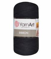 Ленточная пряжа Yarnart Ribbon 60% хлопок + 40% акрил 750 черный