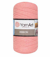 Ленточная пряжа Yarnart Ribbon 60% хлопок + 40% акрил 762 розовая пудра