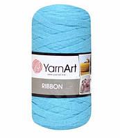 Ленточная пряжа Yarnart Ribbon 60% хлопок + 40% акрил 763 голубая бирюза