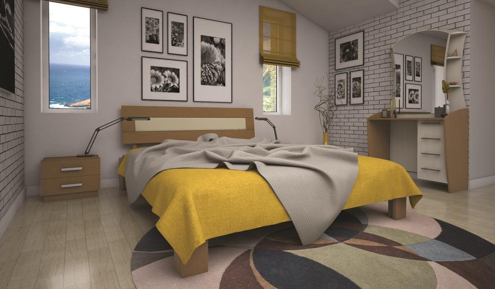 Кровать полуторная с натурального дерева в спальню ТИС МАЛЬВІНА 4 120*190 сосна