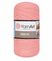 Ленточная пряжа Yarnart Ribbon 60% хлопок + 40% акрил 767 персик