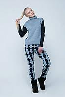 SEWEL Свитер SW397 (46-48, темно-синий, светло-серый маланж, 100% акрил)