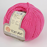Пряжа летняя YarnArt Jeans цвет ярко-розовый № 42