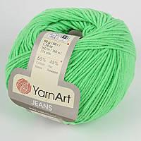 Пряжа летняя YarnArt Jeans цвет ярко-зеленый№ 60