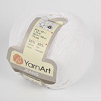 Пряжа летняя YarnArt Jeans цвет белый optic № 62