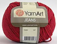 Пряжа летняя YarnArt Jeans цвет красный № 51