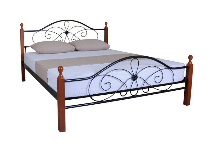 Кровать Фелиция Вуд двуспальная 190х140, бордовая, фото 2