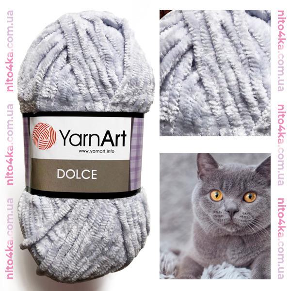 Плюшевая пряжа YarnArt  Dolce цвет серый №760