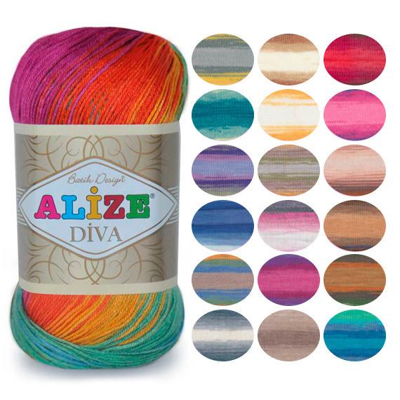 Пряжа летняя Alize Diva Batik оттенок согласно карте цветов
