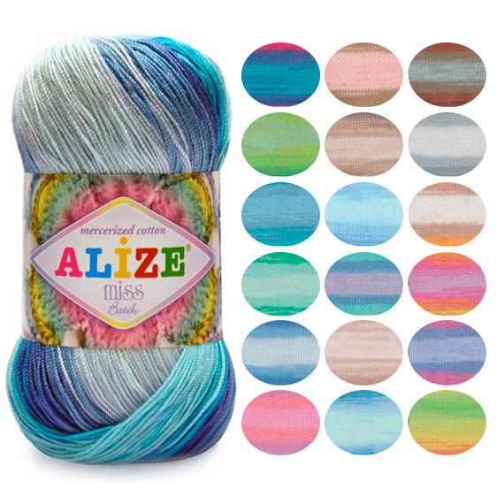 Пряжа летняя Alize Miss Batik оттенок согласно карте цветов
