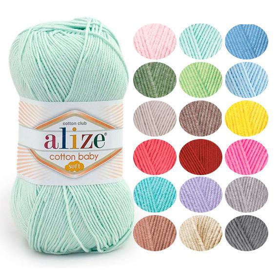 Детская пряжа Alize Cotton Baby Soft оттенок согласно карте цветов