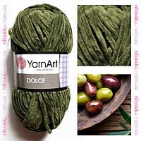 Плюшевая пряжа YarnArt  Dolce НОВИНКА!! цвет темно-оливковый  №772
