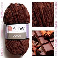 Плюшевая пряжа YarnArt  Dolce НОВИНКА!! цвет шоколад  №775