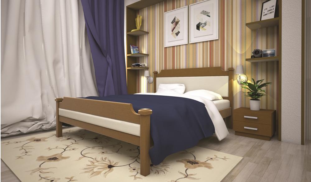 Кровать полуторная с натурального дерева в спальню ТИС ОЛІМПІЯ 120*190 сосна