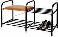 Отличная прочная широкая двухъярусная этажерка для обуви этл-1 с комфортным сиденьем из винил-кожи