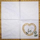 Декупажная салфетка Свадебное сердце 3493, фото 2