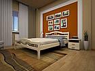 Кровать полуторная с натурального дерева в спальню ТИС ЮЛІЯ 2 120*190 сосна, фото 4
