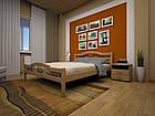 Кровать полуторная с натурального дерева в спальню ТИС ЮЛІЯ 2 120*190 сосна, фото 7