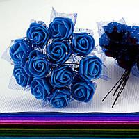 Роза с фатином 2см (цена за букет 12 шт), цвет- Синий