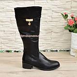 Сапоги женские зимние на невысоком каблуке, натуральная кожа черного цвета, фото 2