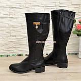 Сапоги женские зимние на невысоком каблуке, натуральная кожа черного цвета, фото 3