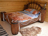 Кровать двухспальная под старину (с декорированным штурвалом корабля и бочками)