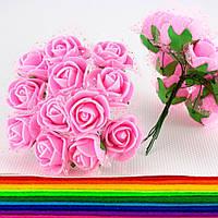 Роза с фатином 2см (цена за букет,12 розочек), цвет- розовый