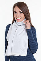 SEWEL Шарф AW300 (One Size, ярко-белый, серый, 50% шерсть/ 50% пан)