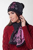 SEWEL Шарф AW287 (One Size, черный, розовый , 50% шерсть/ 50% пан)