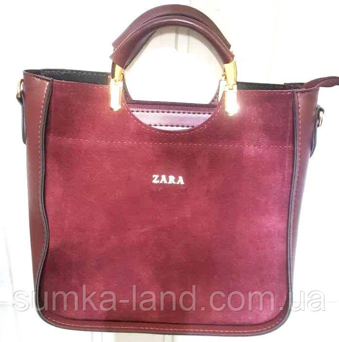 4f3955124478 Женская бордовая сумка Zara из натуральной замши 26 26 см  продажа ...