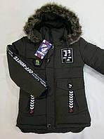 Куртка на мальчика холодная осень р. 7-8 лет темно-зеленая (еврозима)