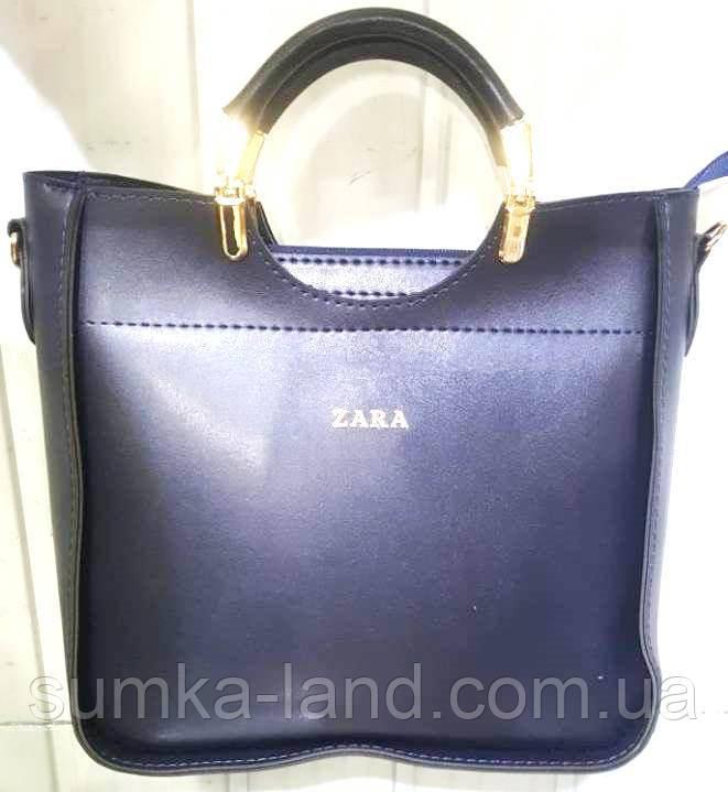 2baaa63bd807 Женская синяя сумка Zara из эко-кожи 26*26 см: продажа, цена в ...