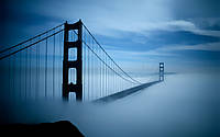 Виниловые обои Мост в тумане