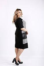 Женское трикотажное платье с эко-кожей размеры 42-74, фото 2