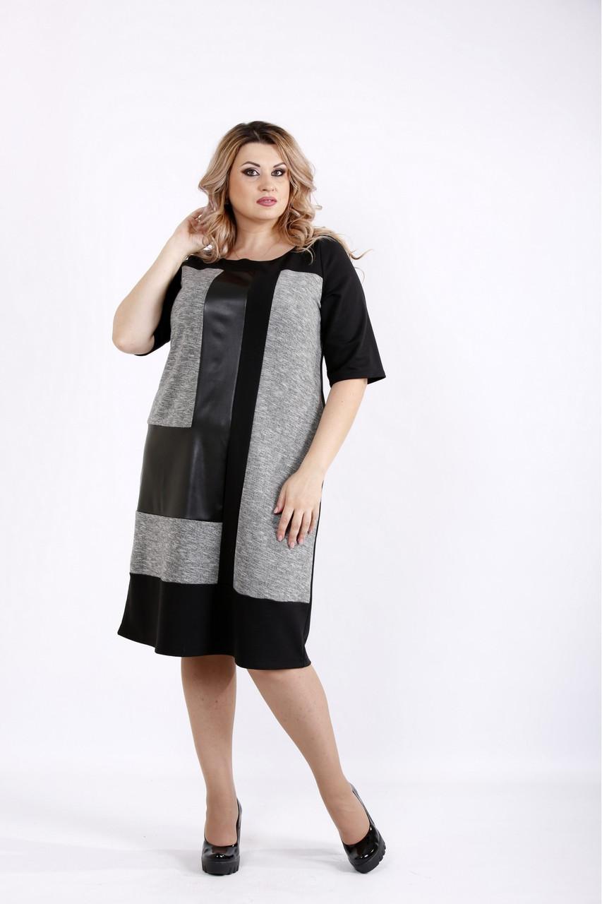 Трикотажне жіноче плаття з еко-шкірою розміри 42-74