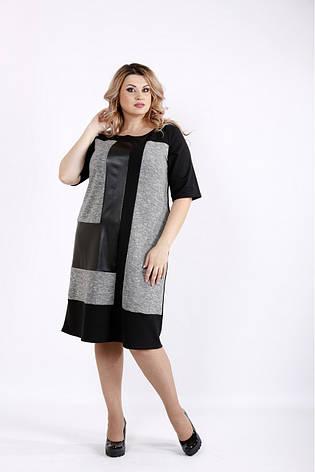 Трикотажне жіноче плаття з еко-шкірою розміри 42-74, фото 2