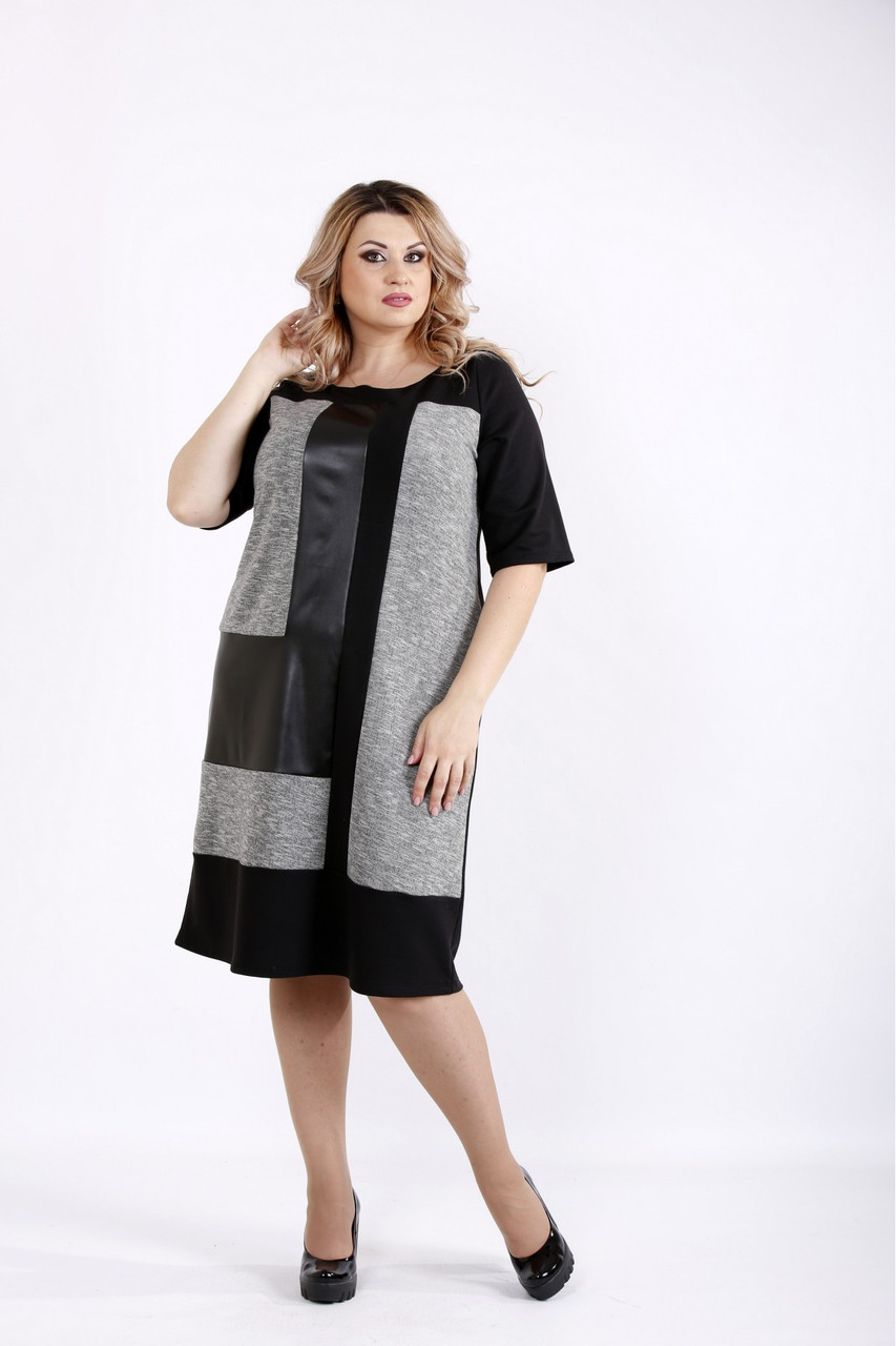 Женское трикотажное платье с эко-кожей размеры 42-74