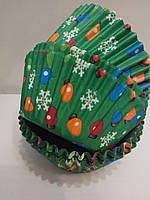 Форма бумажная для кексов Новогодняя 50 шт.