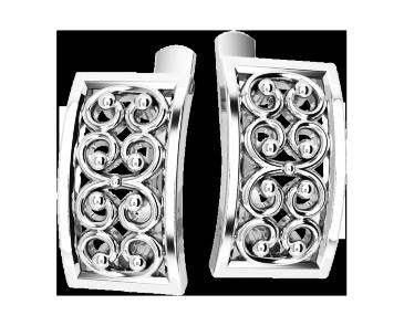 Серьги серебряные Вензеля 41126