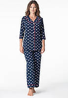 """Женская пижама на пуговицах блузон и брюки синего цвета """"Lucy"""" качество premium"""