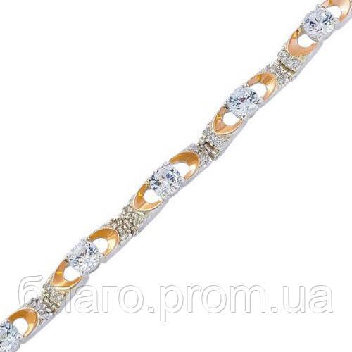 Срібний браслет жіночий з золотими пластинами арт. 30048
