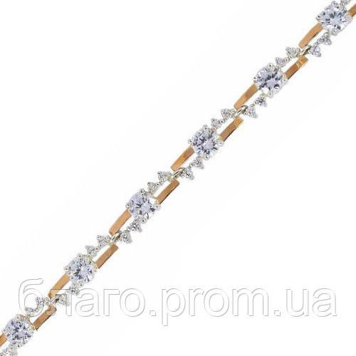 Срібний браслет жіночий з золотими пластинами арт. 30060