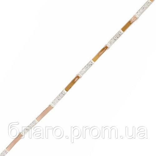 Серебряный браслет женский с золотыми пластинами арт. 30078