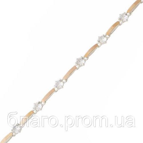Серебряный браслет женский с золотыми пластинами арт. 30083