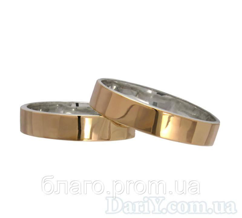 """Серебряные обручальные кольца с золотыми вставками """"Американка"""" 4мм"""