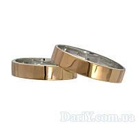 """Серебряные обручальные кольца с золотыми вставками """"Американка"""" 4мм, фото 1"""